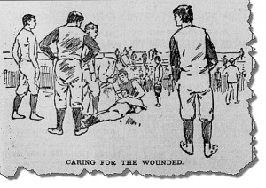 Time out at the 1893 Cal-Stanford game at the Haight Street grounds to attend to an injured player. From the San Francisco Call. Available at the California Digital Newspaper Collection.