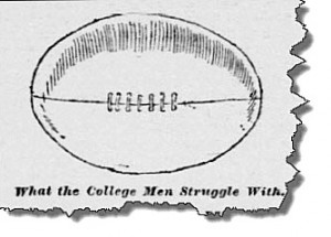 An example of the type of football future U.S. President Herbert Hoover forgot to bring to the first Stanford-Cal football game in November 1892. From the San Francisco Call. Available at the California Digital Newspaper Collection.