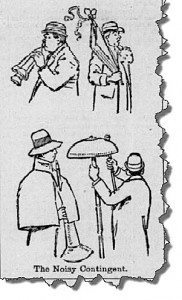 The Noisy Contingent delivering auricular torture at the California-Stanford game, November 1893. From the San Francisco Call. Available at the California Digital Newspaper Collection.