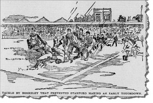 University of California-Berkeley versus Stanford at Haight Street baseball grounds, bordered by Stanyan, Frederick, Waller, and Cole Streets, San Francisco, November 1893. From the San Francisco Call. Available at the California Digital Newspaper Collection.