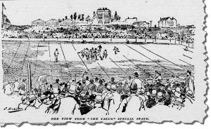 View of the playing field at the Haight Street street grounds, bordered by Stanyan, Frederick, Waller, and Cole Streets in San Francisco, November 1892. From the San Francisco Call. Available at the California Digital Newspaper Collection.