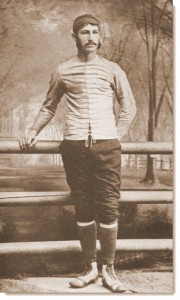 The uniform of football circa late 1880s. Walter Camp, captain of the Yale team in 1878-1879, would later become the father of modern football and coach at Stanford. From Football Days, Memories of the Game and the Men Behind the Ball, by William H. Edwards. 1916. Moffat, Yard, and Co. Available at Project Gutenberg.