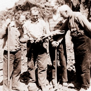 "Edward Supernaugh, left, Ed Soluago, Carl Summers, and Foreman Theodore Ernst, inspect ""gold samples"" they found at McLaren Park. Dated April 15, 1931. Folder: S.F. Parks-McLaren, Photo ID Number: AAA-6979. Available at the San Francisco Public Library."