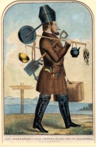 "This hand tinted lithograph entitled ""Independent Gold Hunter on His Way to California"" was published by Kelloggs and Comstock of New York, and Ensign & Thayer of Buffalo in 1850. Image available in Section V. Gold Mania Satirized, at the California State Library."