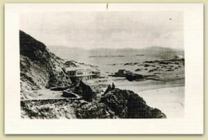 This view of the Old Seal Rock House across from the sand dunes, 1866, where the western end of Golden Gate Park is located today. Just beyond the ridge of dunes, hundreds of willow trees were reported to have grown along what we refer to today as the Chain of Lakes. Photograph courtesy of the San Francisco Public Library Historical Photograph Collection. AAC-0016.