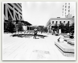 Transamerica Redwood Park sits atop land fill, the former shoreline of Yerba Buena Cove. In this image from 1972, the pocket park has just been established.