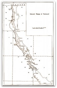 This map details the native range of California's coast redwood. Moving from the Northern California Coast from the Oregon Border to Sonoma County. South of Sonoma, distribution becomes more irregular. From Roy DF. Silvical Characteristics of the Coast Redwood. Available at the U.S. Forest Service.